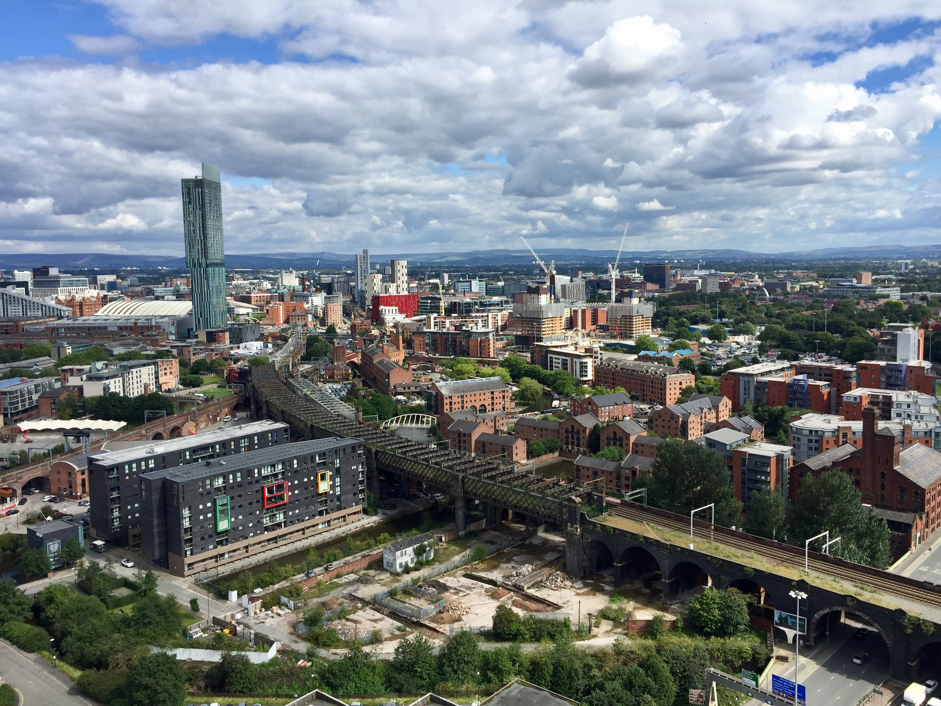 Manchester skyline in August 2017 viewing the Owen Street building site where RECO Hoist Hire & Sales provided construction hoists