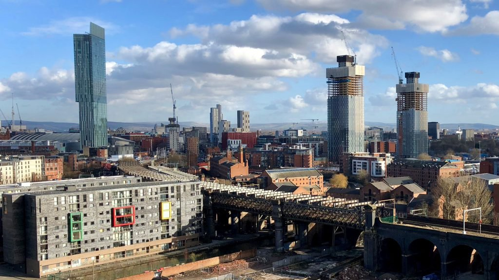 Manchester skyline in Februari 2018 viewing the Owen Street building site where RECO Hoist Hire & Sales provided construction hoists
