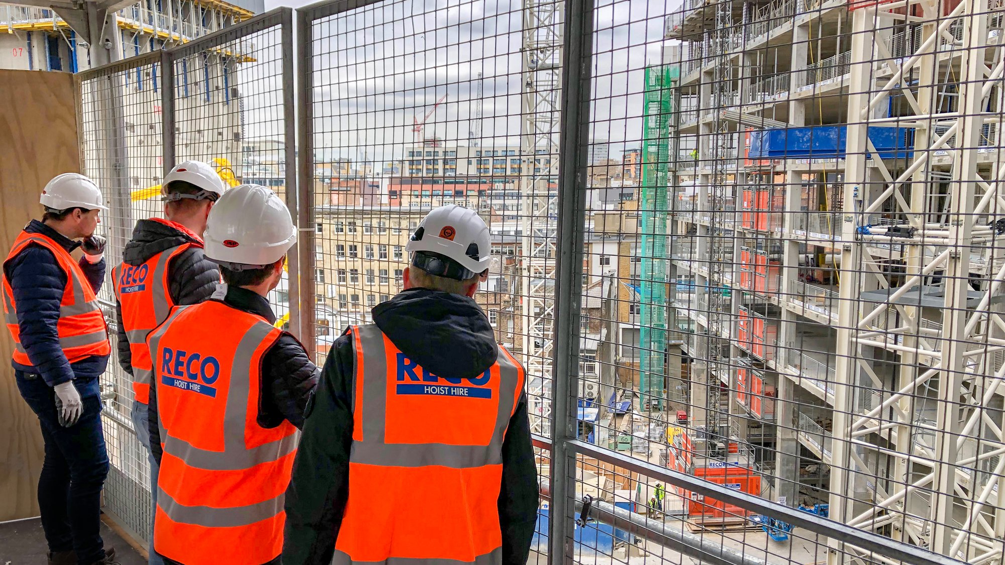 RECO Hoist Hire & Sales visiting a construction site with Alimak building hoists